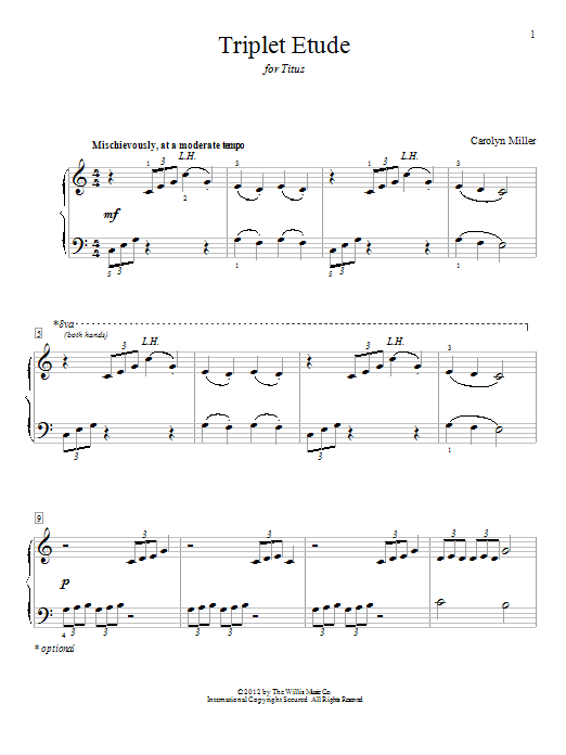 Triplet Etude - Mid-Elementary Level by Carolyn Miller