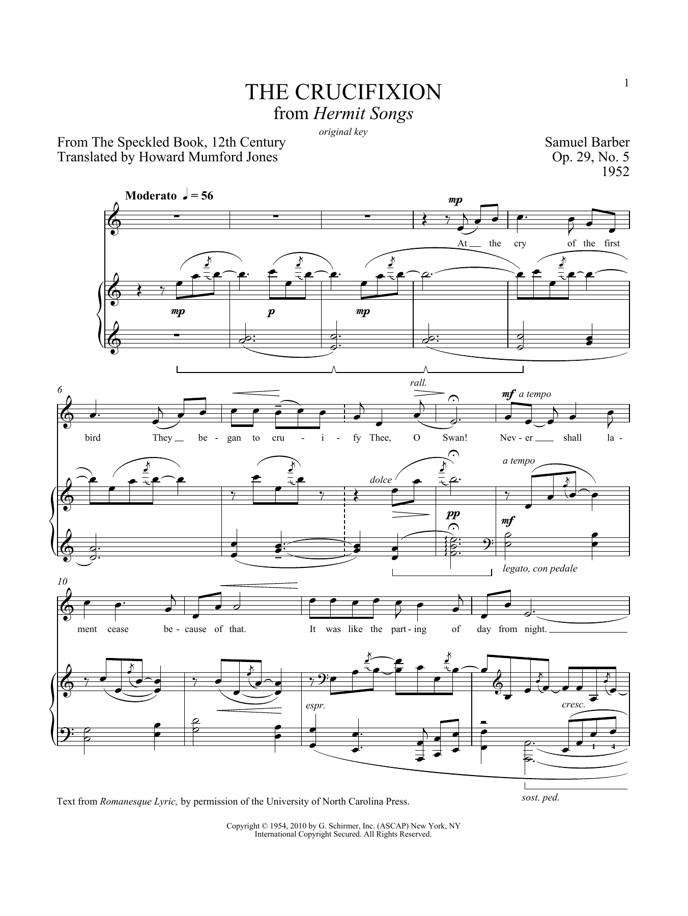 Partition piano The Crucifixion de Samuel Barber - Piano Voix