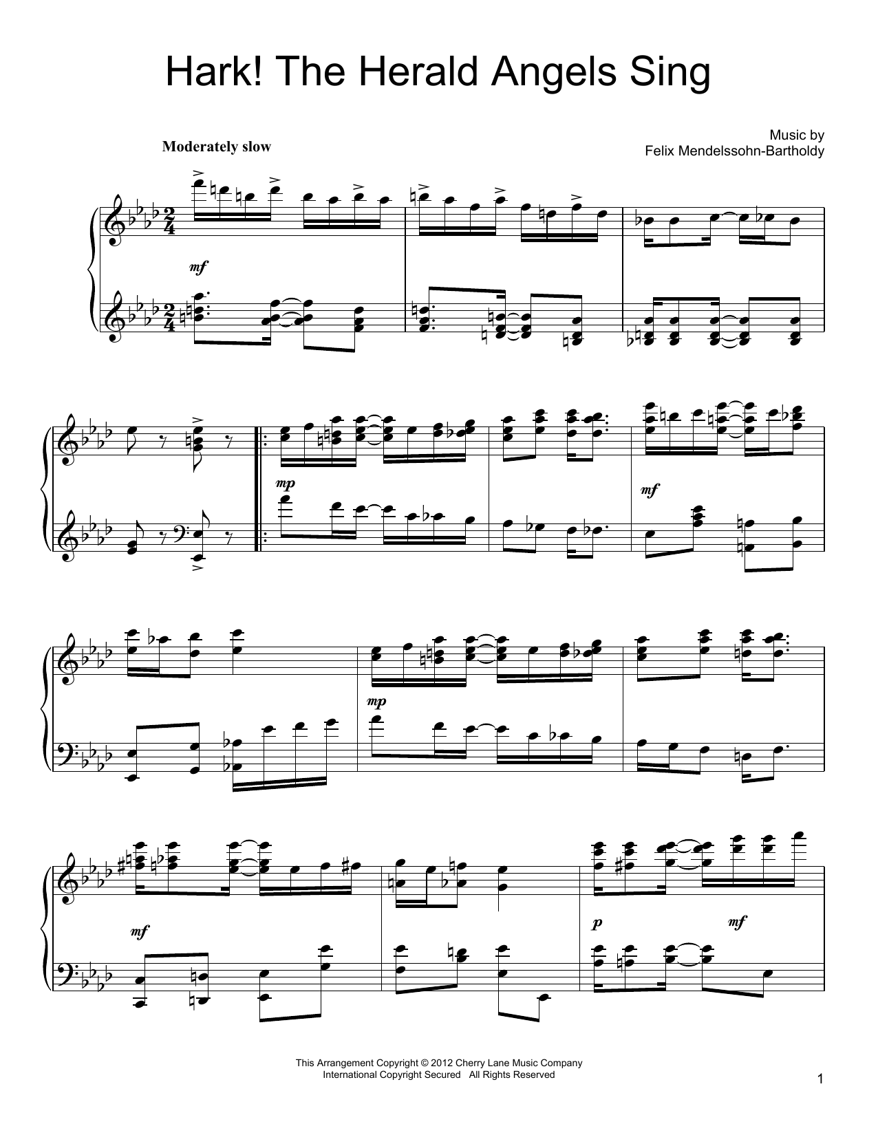Partition piano Hark! The Herald Angels Sing de Felix Mendelssohn-Bartholdy - Piano Solo