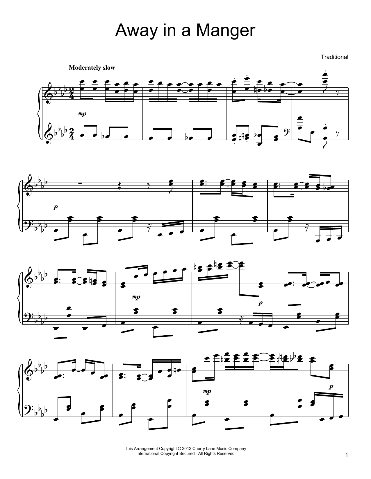 Partition piano Away In A Manger de John T. McFarland - Piano Solo