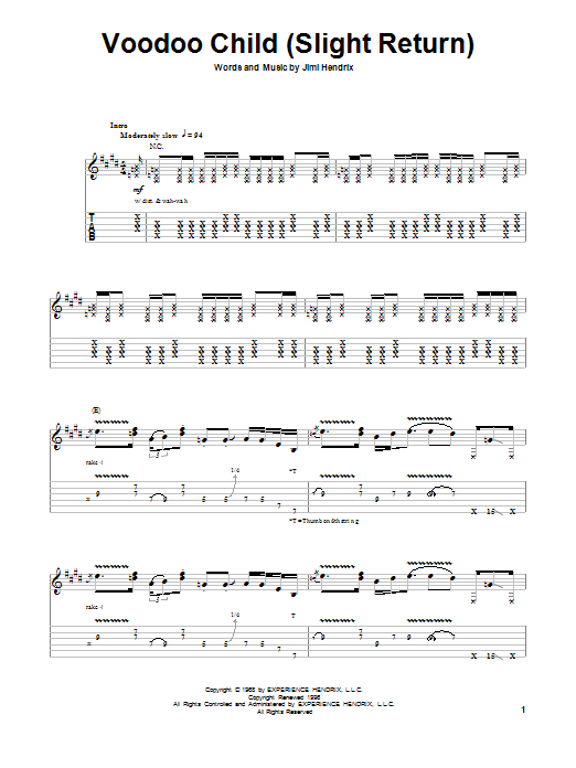 Tablature guitare Voodoo Child (Slight Return) de Stevie Ray Vaughan - Tablature Guitare