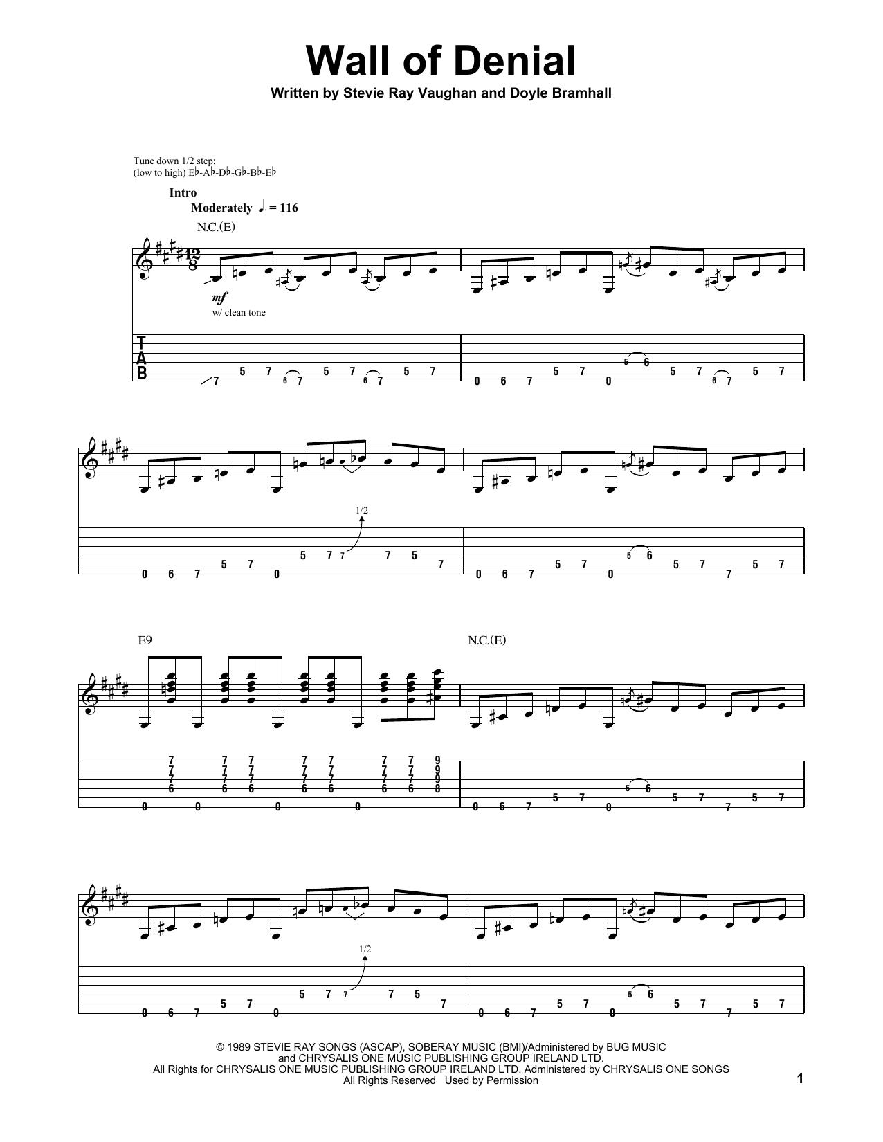 Tablature guitare Wall Of Denial de Stevie Ray Vaughan - Tablature Guitare
