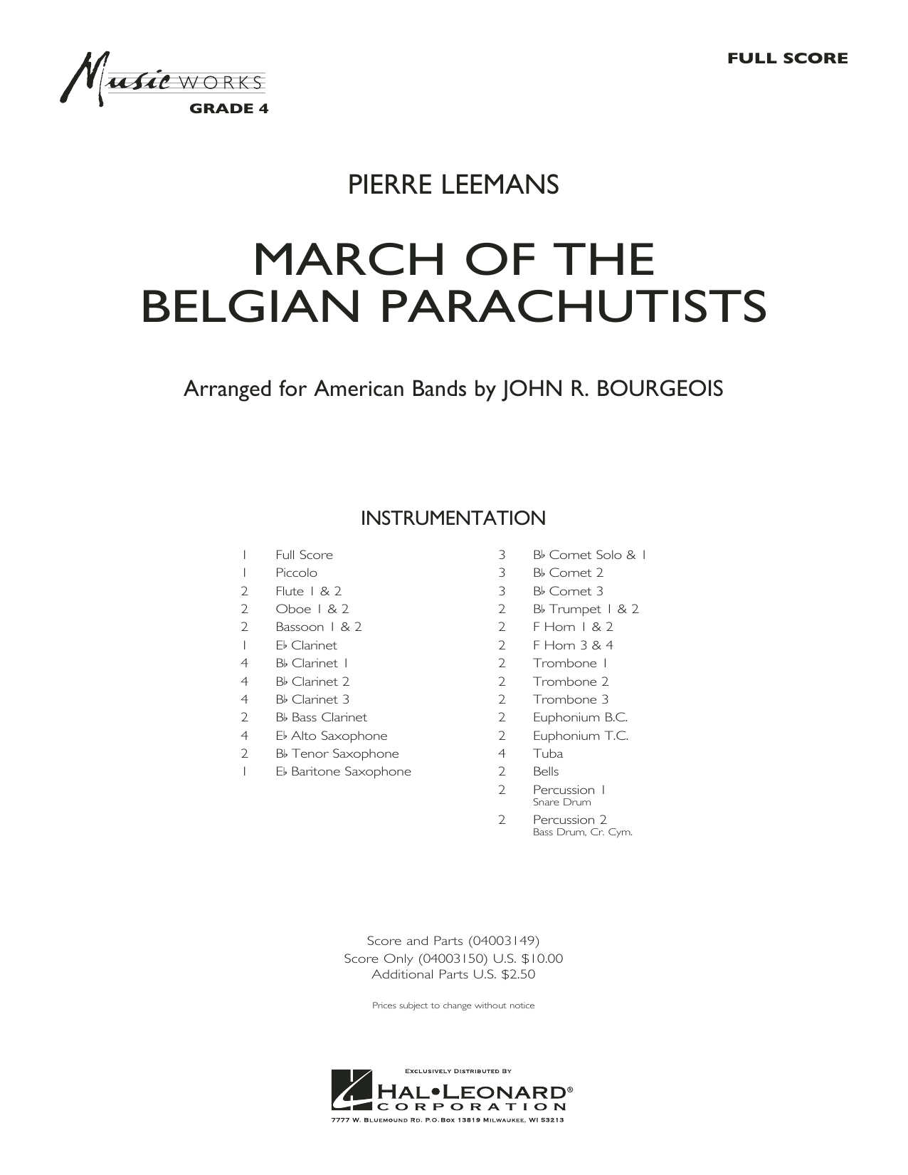 March Of The Belgian Parachutists (COMPLETE) sheet music for concert band by John R. Bourgeois