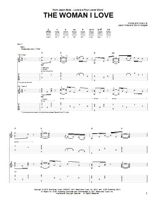 Tablature guitare The Woman I Love de Jason Mraz - Tablature Guitare