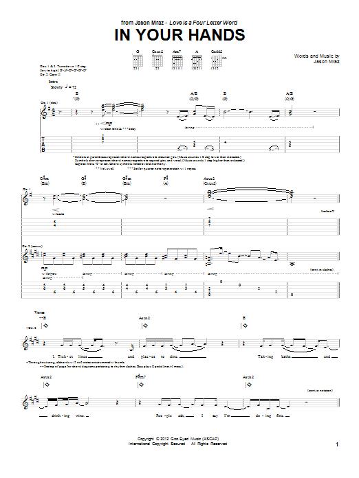 Tablature guitare In Your Hands de Jason Mraz - Tablature Guitare