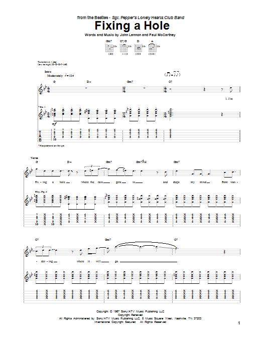 Tablature guitare Fixing A Hole de The Beatles - Tablature Guitare