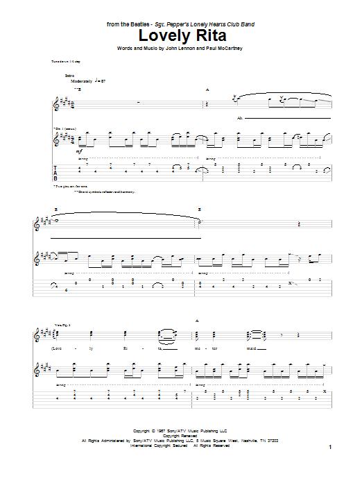 Tablature guitare Lovely Rita de The Beatles - Tablature Guitare