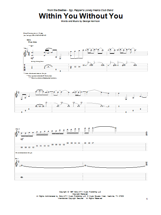 Tablature guitare Within You Without You de The Beatles - Tablature Guitare