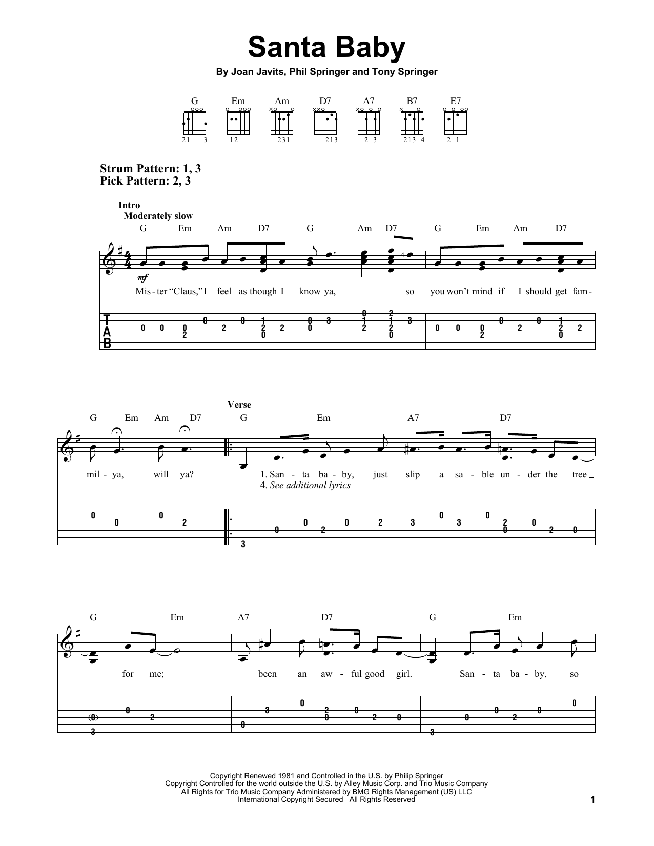 Tablature guitare Santa Baby de Phil Springer - Tablature guitare facile