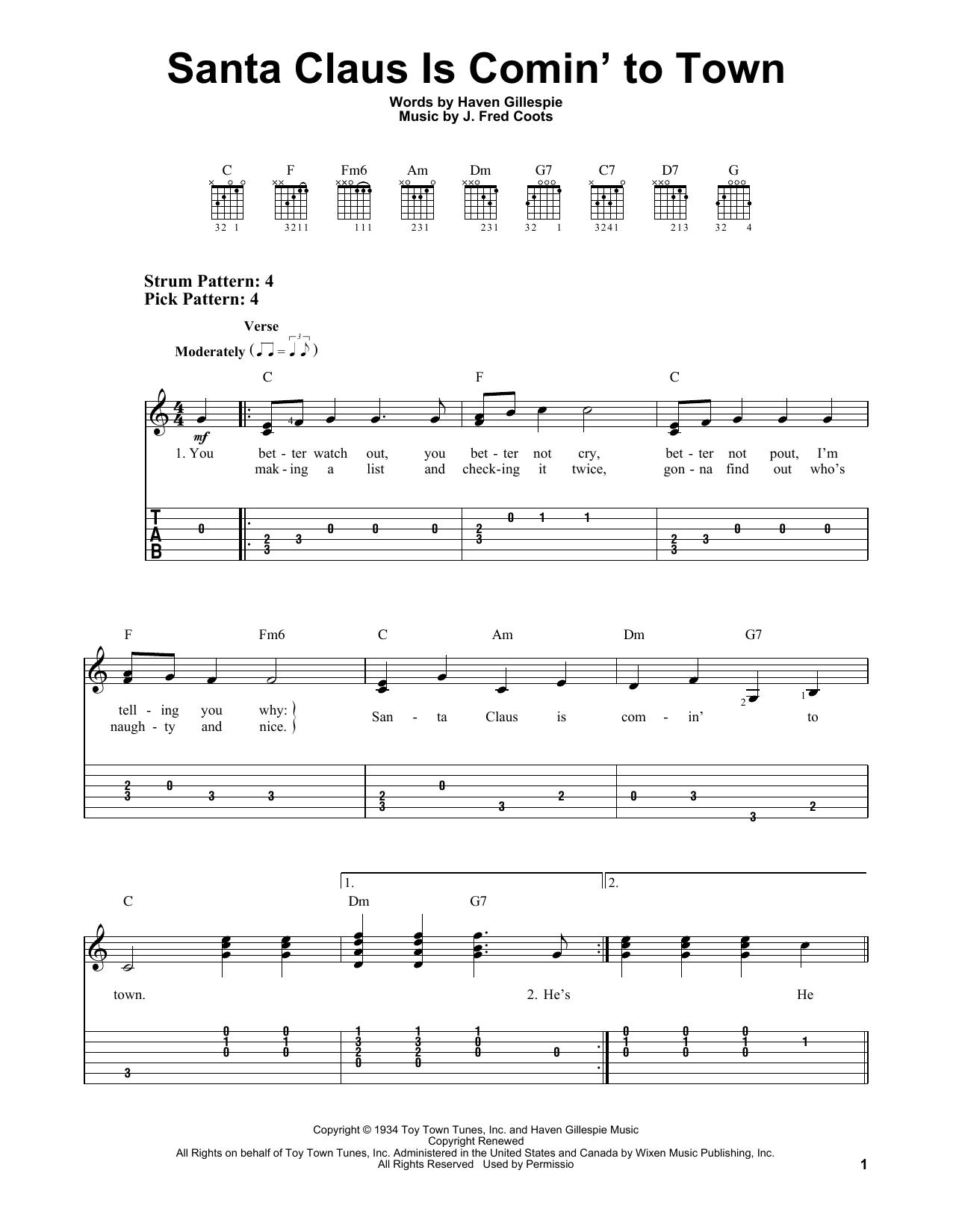 Tablature guitare Santa Claus Is Comin' To Town de Haven Gillespie - Tablature guitare facile