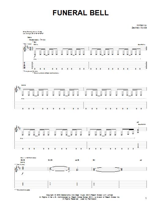 Tablature guitare Funeral Bell de Black Label Society - Tablature Guitare