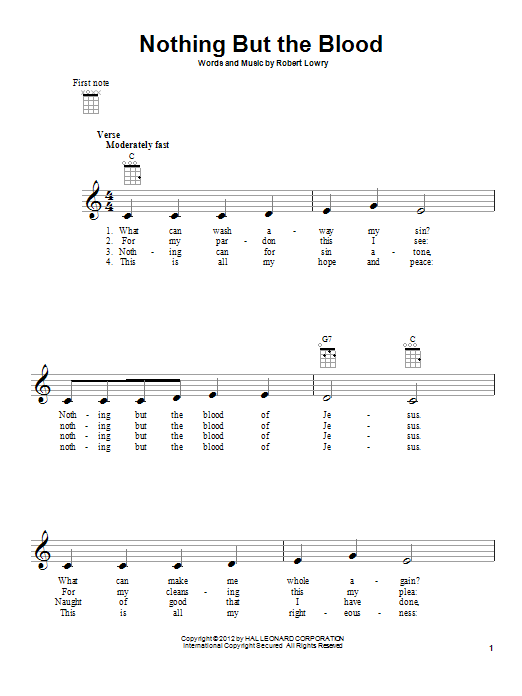 Tablature guitare Nothing But The Blood de Robert Lowry - Ukulele