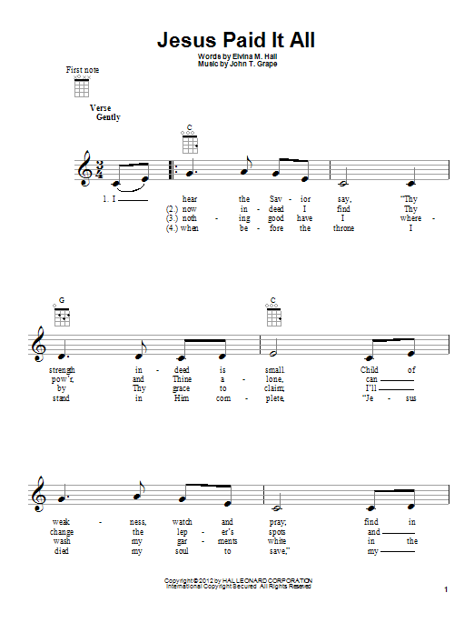 Tablature guitare Jesus Paid It All de John T. Grape - Ukulele