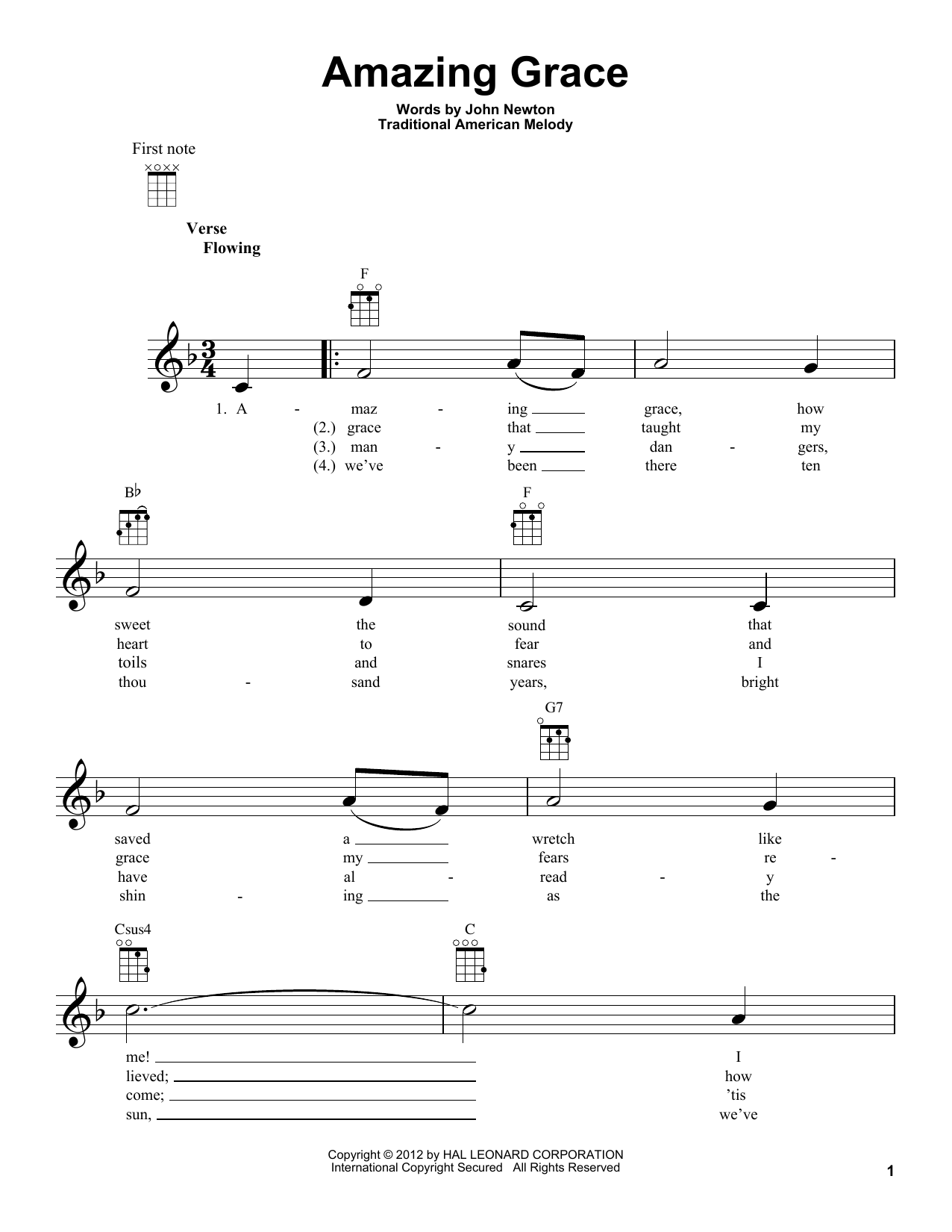 Tablature guitare Amazing Grace de Edwin O. Excell - Ukulele
