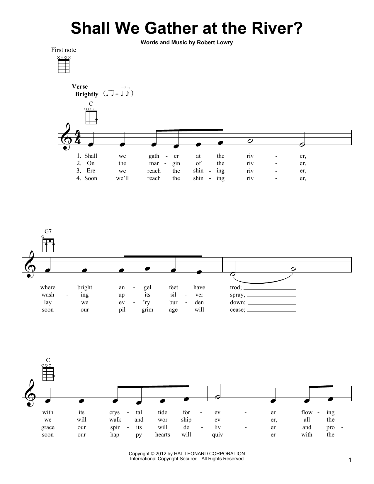 Tablature guitare Shall We Gather At The River? de Robert Lowry - Ukulele