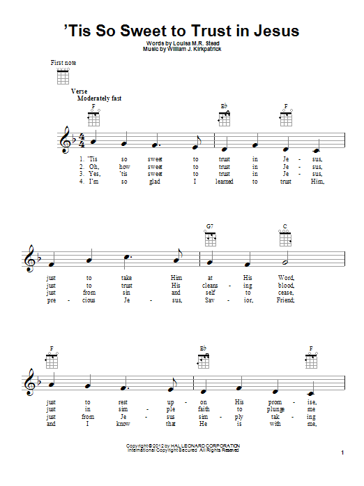 Tablature guitare 'Tis So Sweet To Trust In Jesus de Louisa M.R. Stead - Ukulele