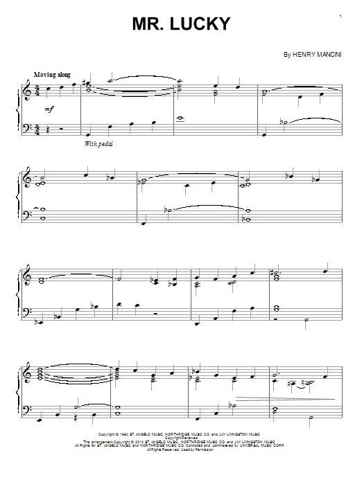 Partition piano Mr. Lucky de Henry Mancini - Piano Solo