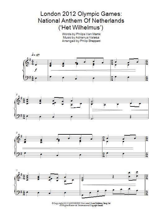 Philip Sheppard - London 2012 Olympic Games: National Anthem Of Netherlands ('Het Wilhelmus')