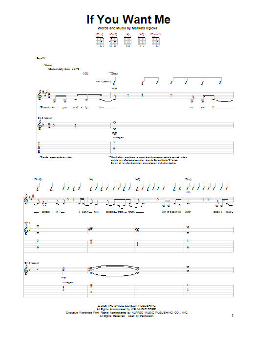 If You Want Me by The Swell Season - Guitar Tab - Guitar Instructor