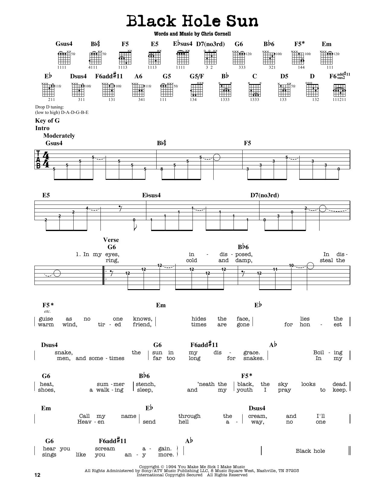 Partition autre Black Hole Sun de Soundgarden - Tablature Guitare Lead
