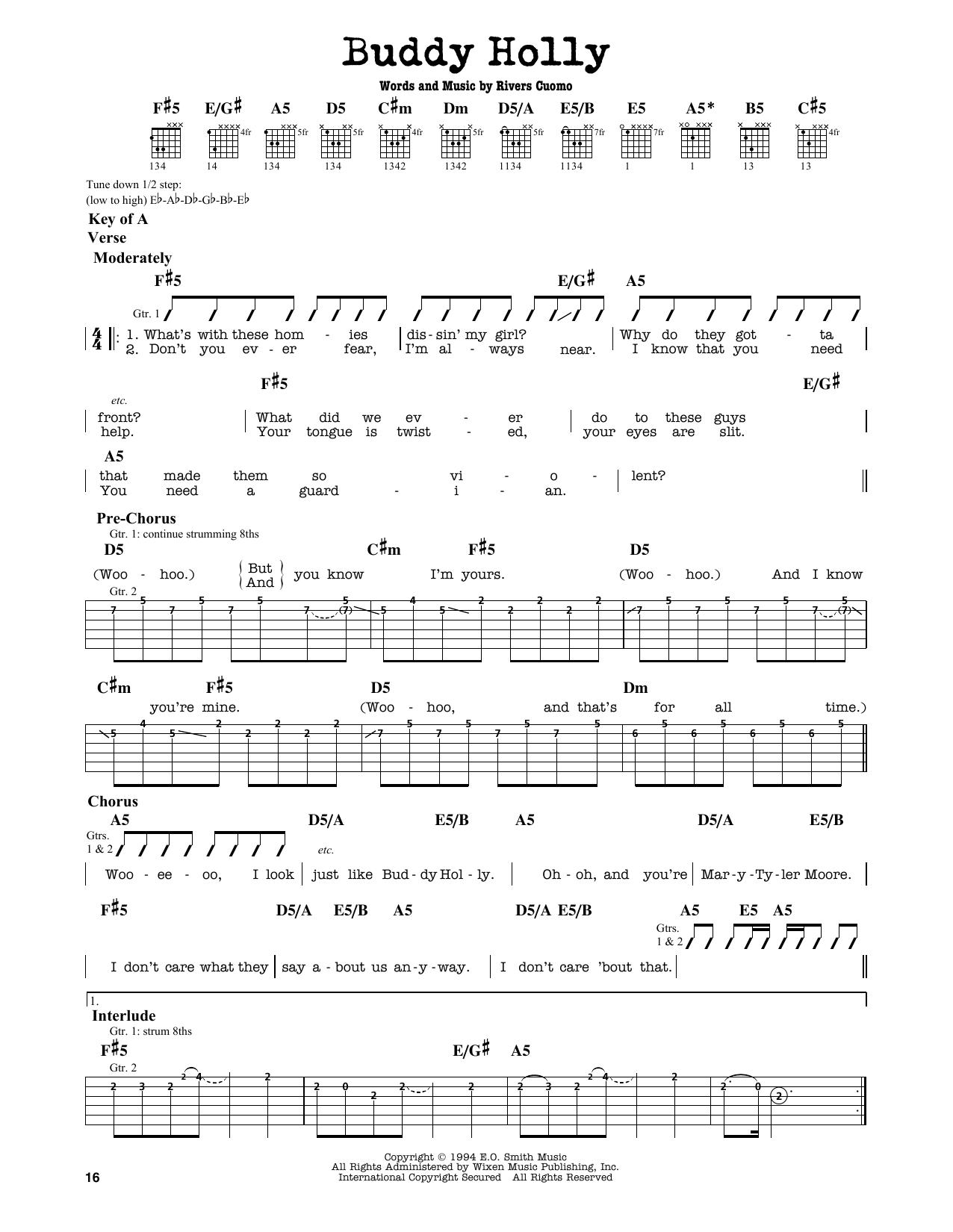 Partition autre Buddy Holly de Weezer - Tablature Guitare Lead