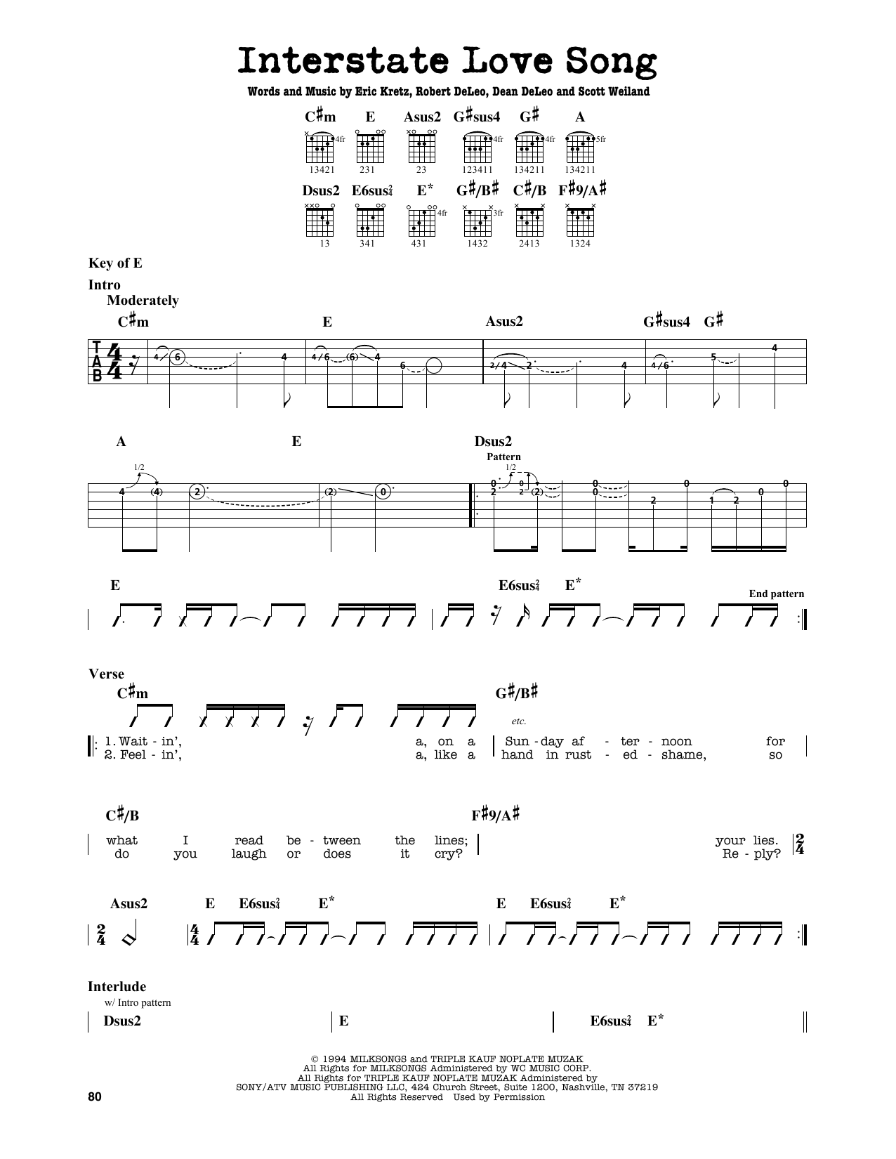 Partition autre Interstate Love Song de Stone Temple Pilots - Tablature Guitare Lead