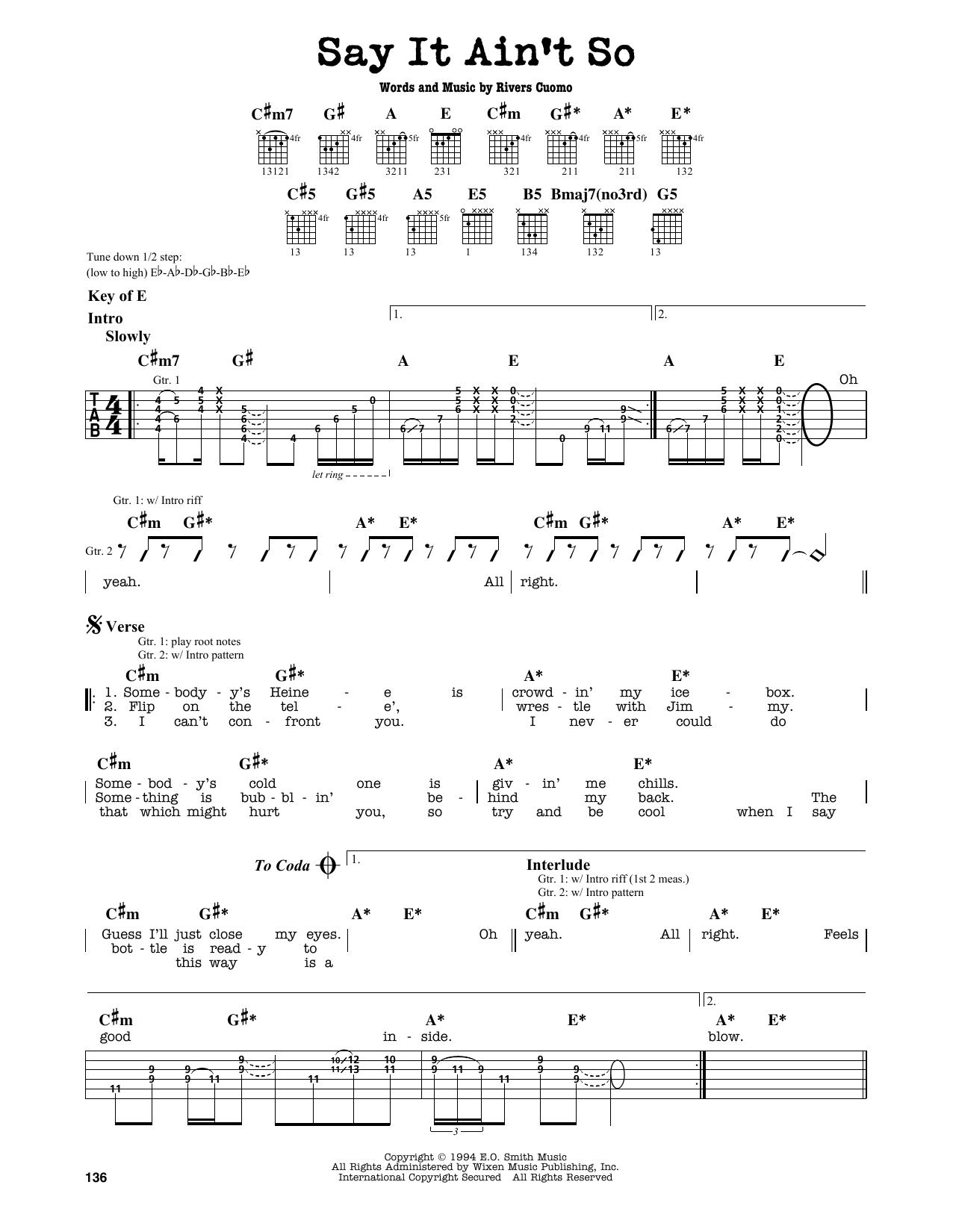 Partition autre Say It Ain't So de Weezer - Tablature Guitare Lead