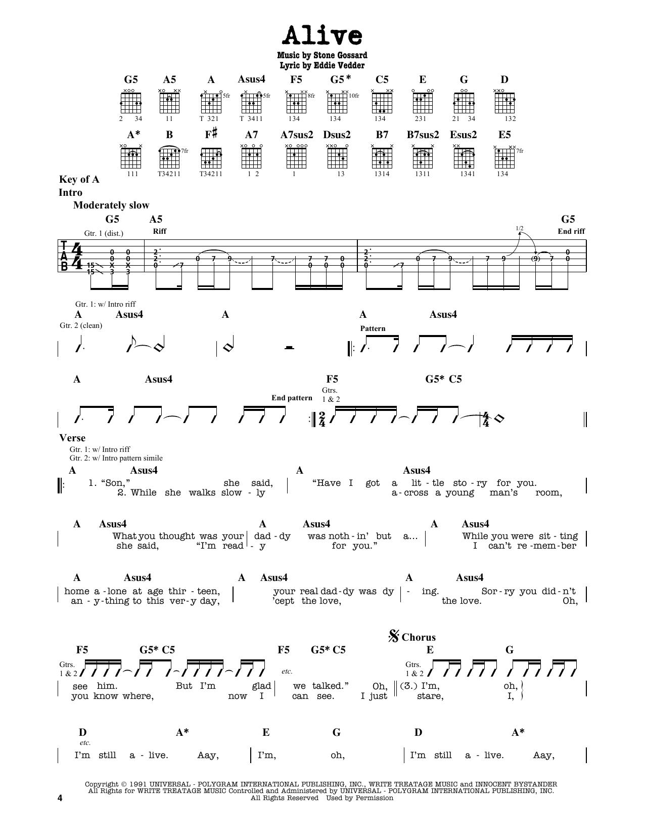 Partition autre Alive de Pearl Jam - Tablature Guitare Lead