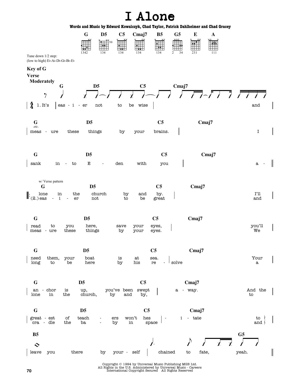 Partition autre I Alone de Live - Tablature Guitare Lead
