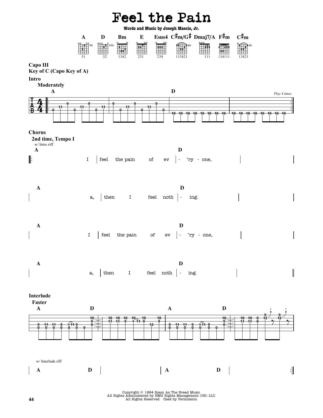 Partition autre Feel The Pain de Dinosaur Jr. - Tablature Guitare Lead