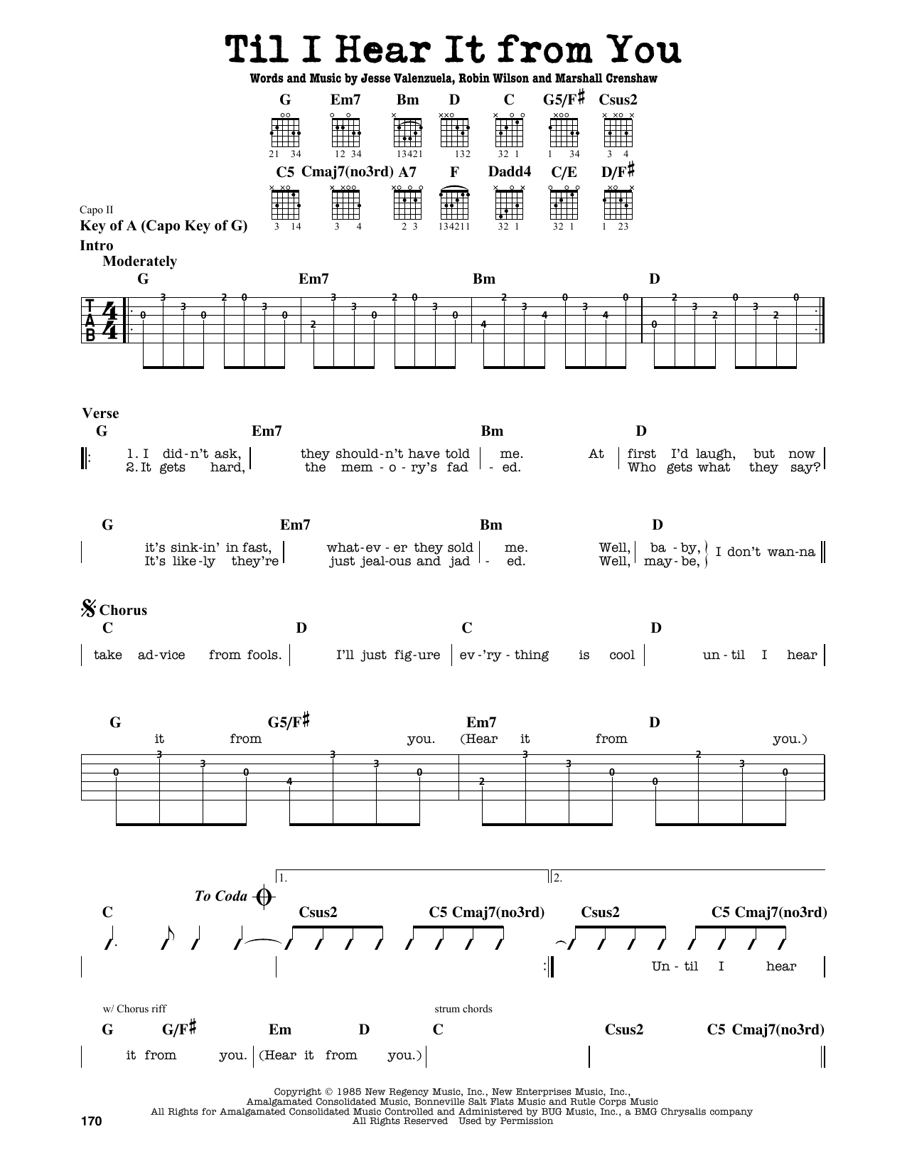 Partition autre Til I Hear It From You de Gin Blossoms - Tablature Guitare Lead