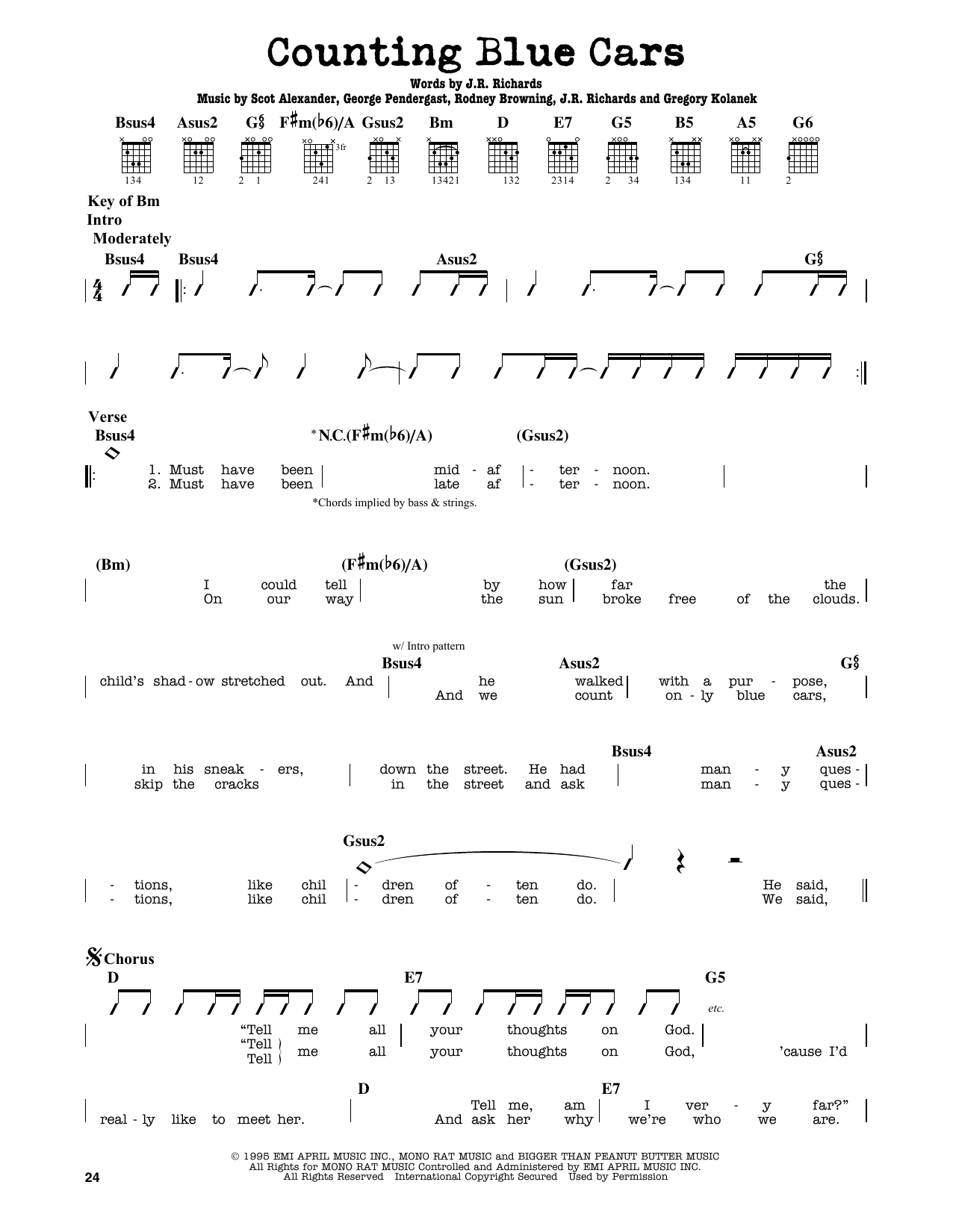 Partition autre Counting Blue Cars de Dishwalla - Tablature Guitare Lead