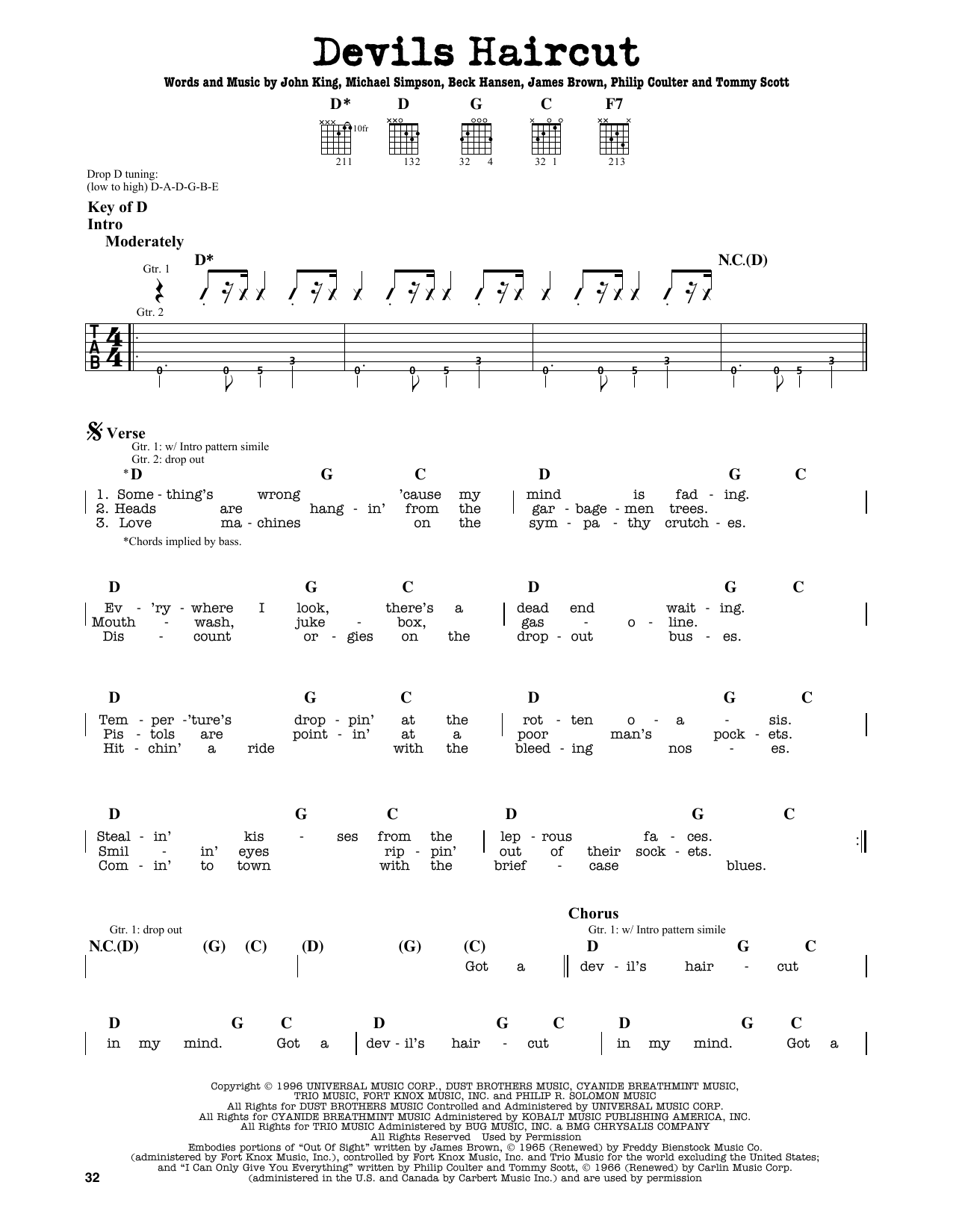 Partition autre Devils Haircut de Beck - Tablature Guitare Lead