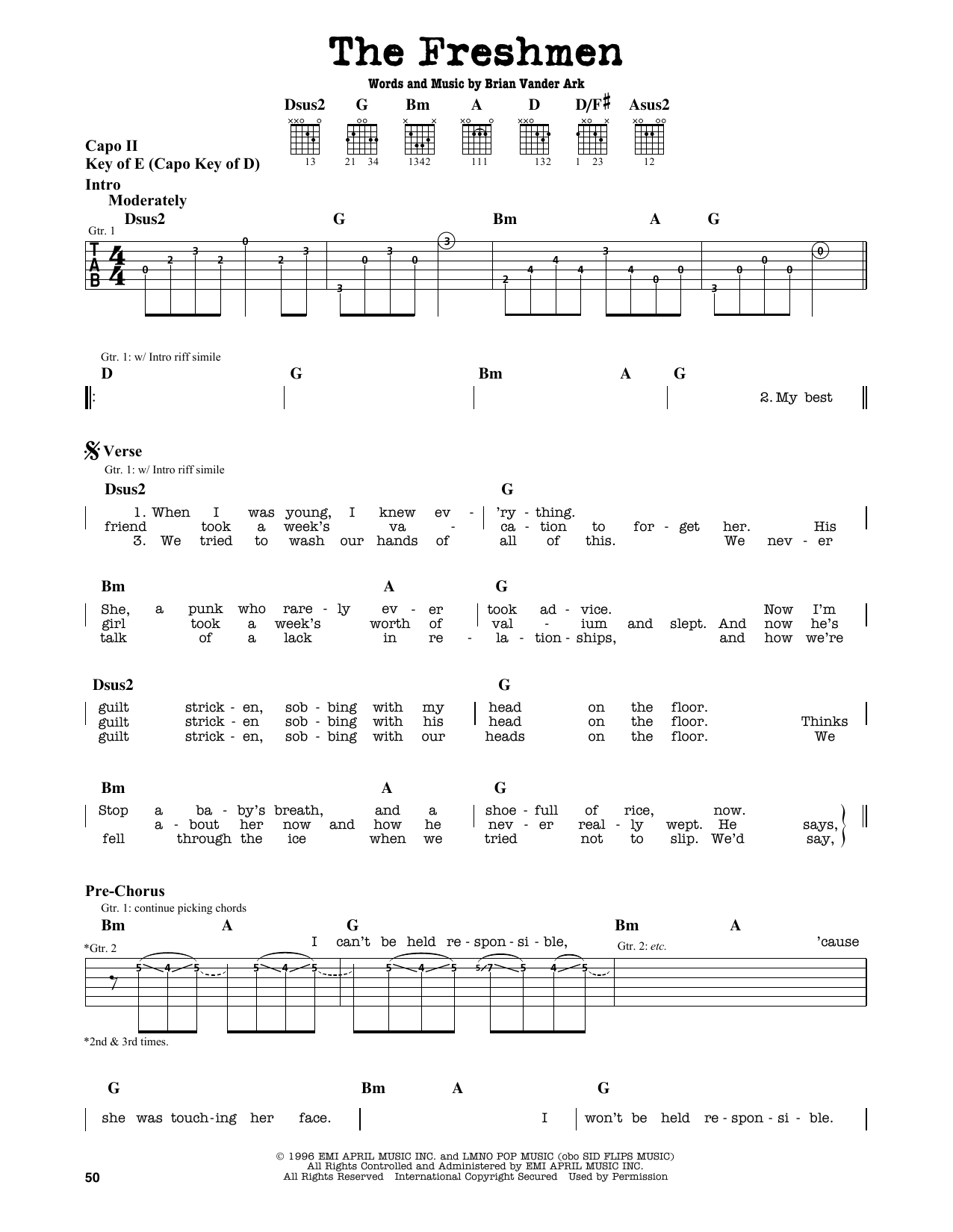 Partition autre The Freshmen de The Verve Pipe - Tablature Guitare Lead
