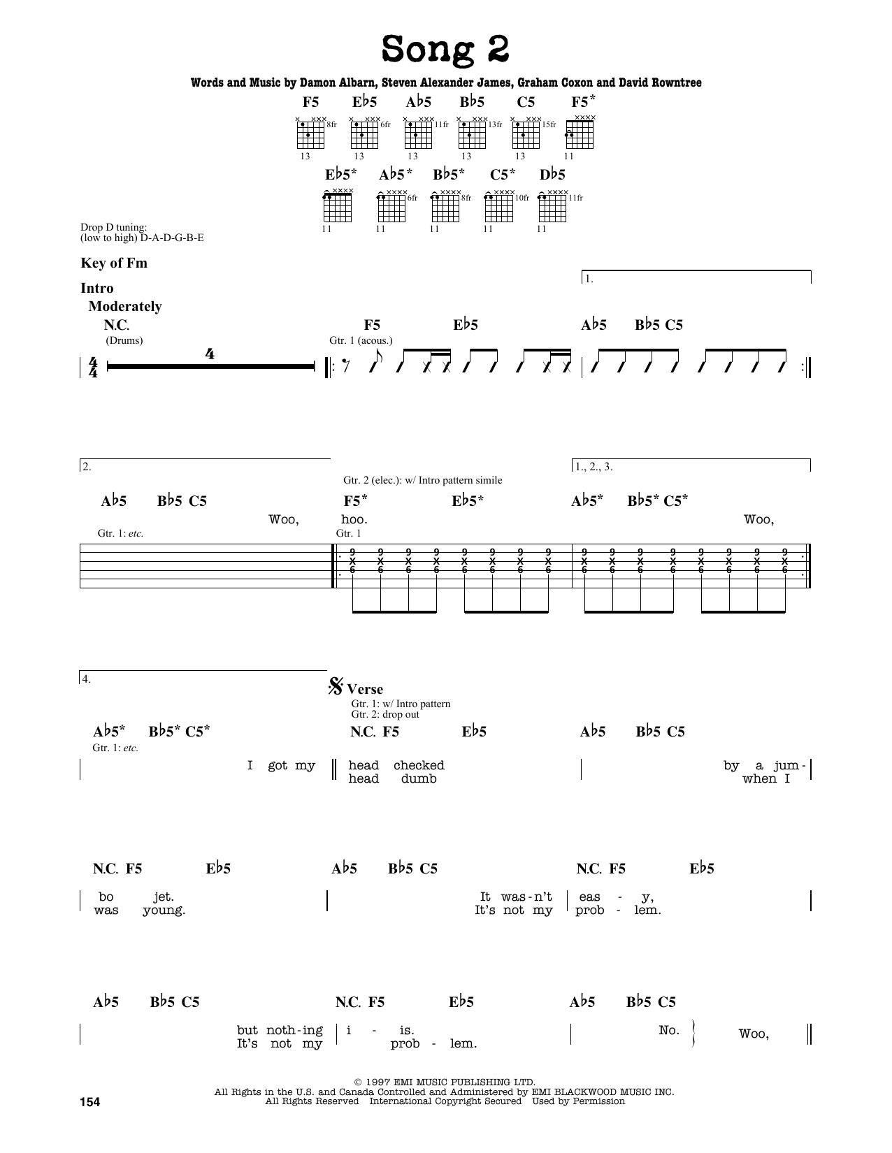 Partition autre Song 2 de Blur - Tablature Guitare Lead