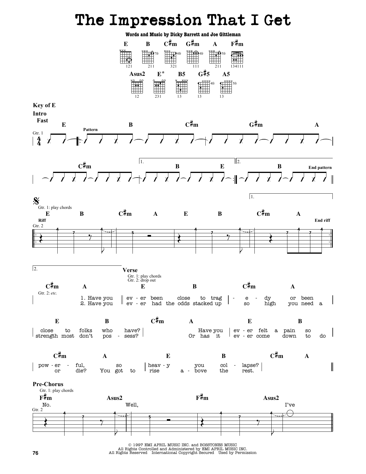 Partition autre The Impression That I Get de The Mighty Mighty Bosstones - Tablature Guitare Lead