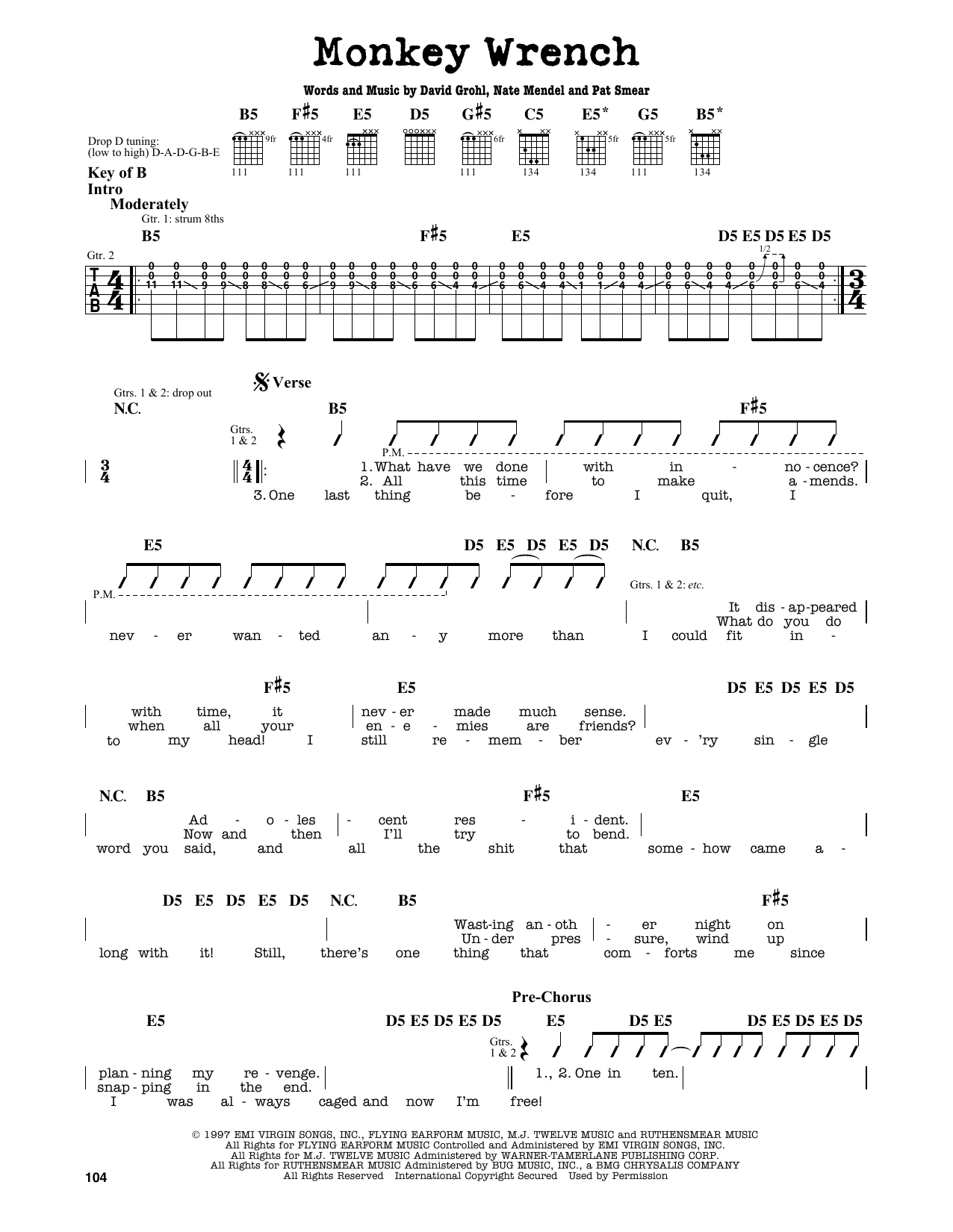 Partition autre Monkey Wrench de Foo Fighters - Tablature Guitare Lead