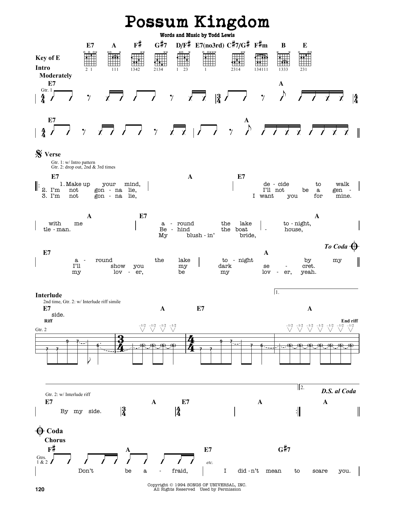 Partition autre Possum Kingdom de The Toadies - Tablature Guitare Lead
