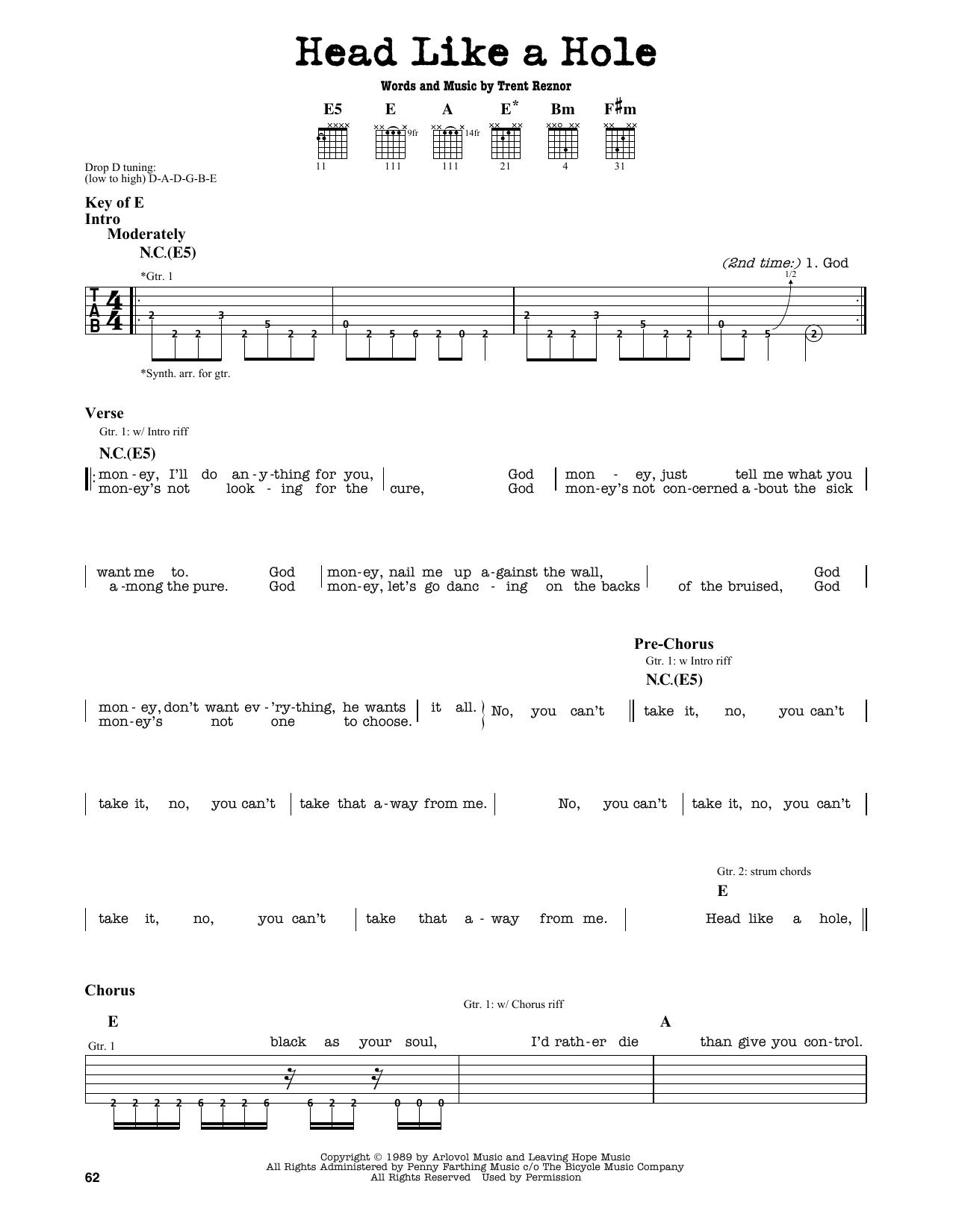 Partition autre Head Like A Hole de Nine Inch Nails - Tablature Guitare Lead