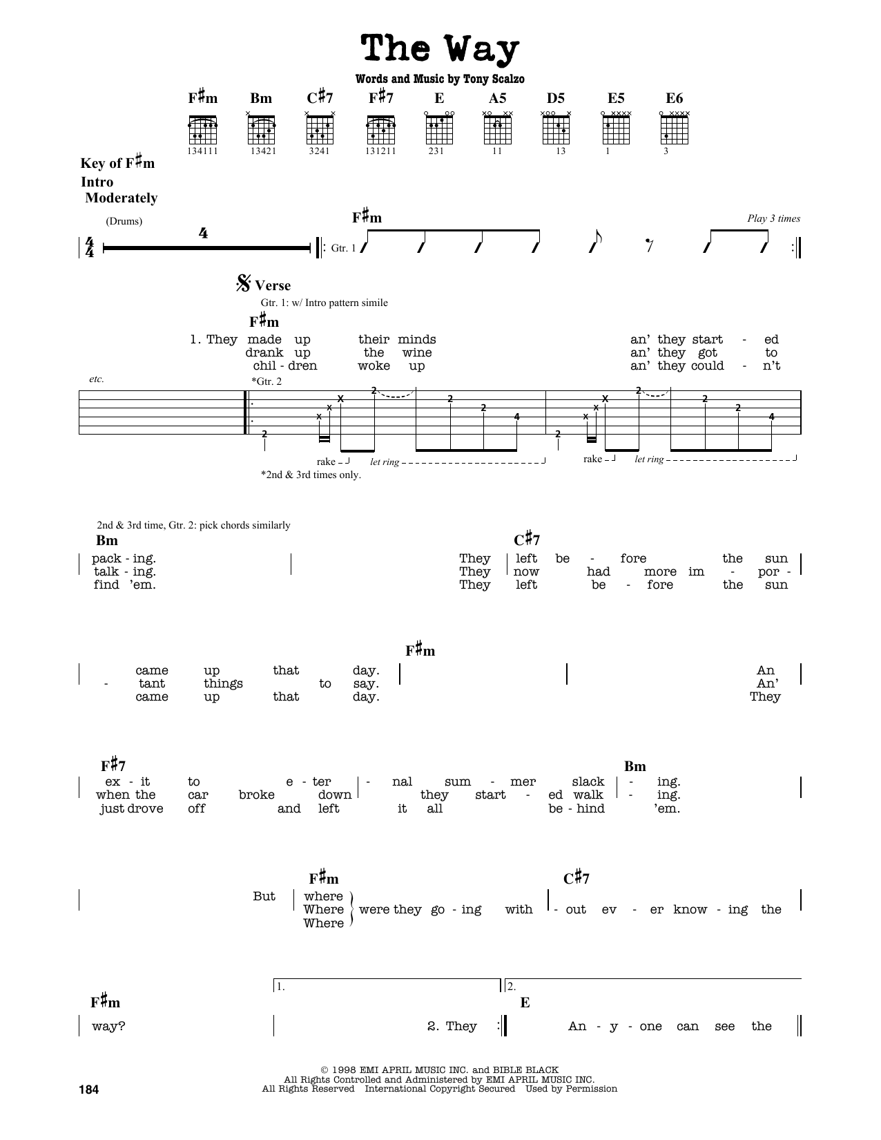 Partition autre The Way de Fastball - Tablature Guitare Lead