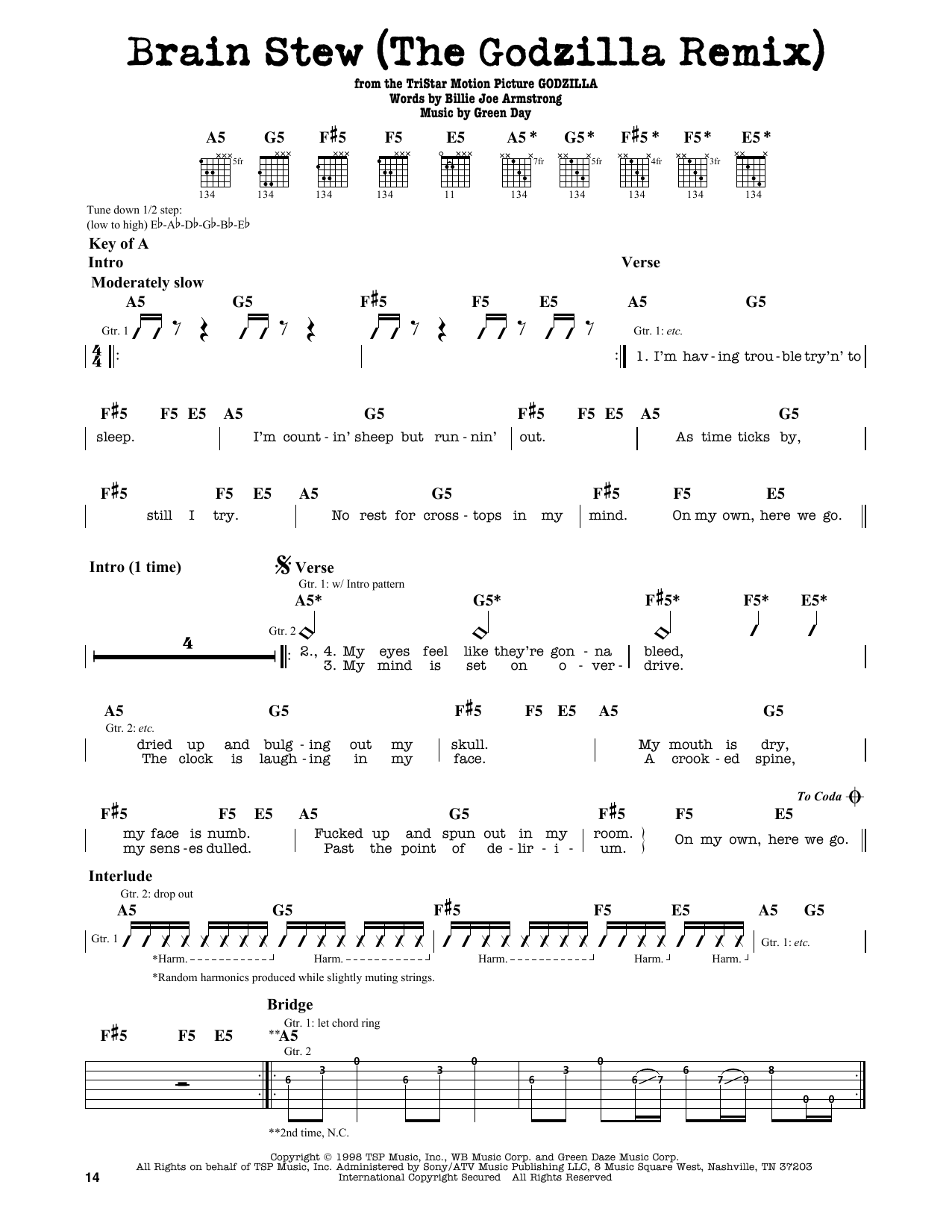 Partition autre Brain Stew (The Godzilla Remix) de Green Day - Tablature Guitare Lead