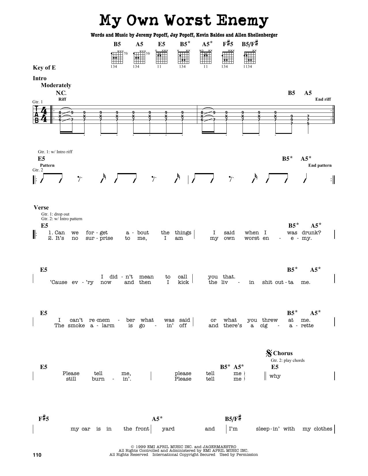 Partition autre My Own Worst Enemy de Lit - Tablature Guitare Lead