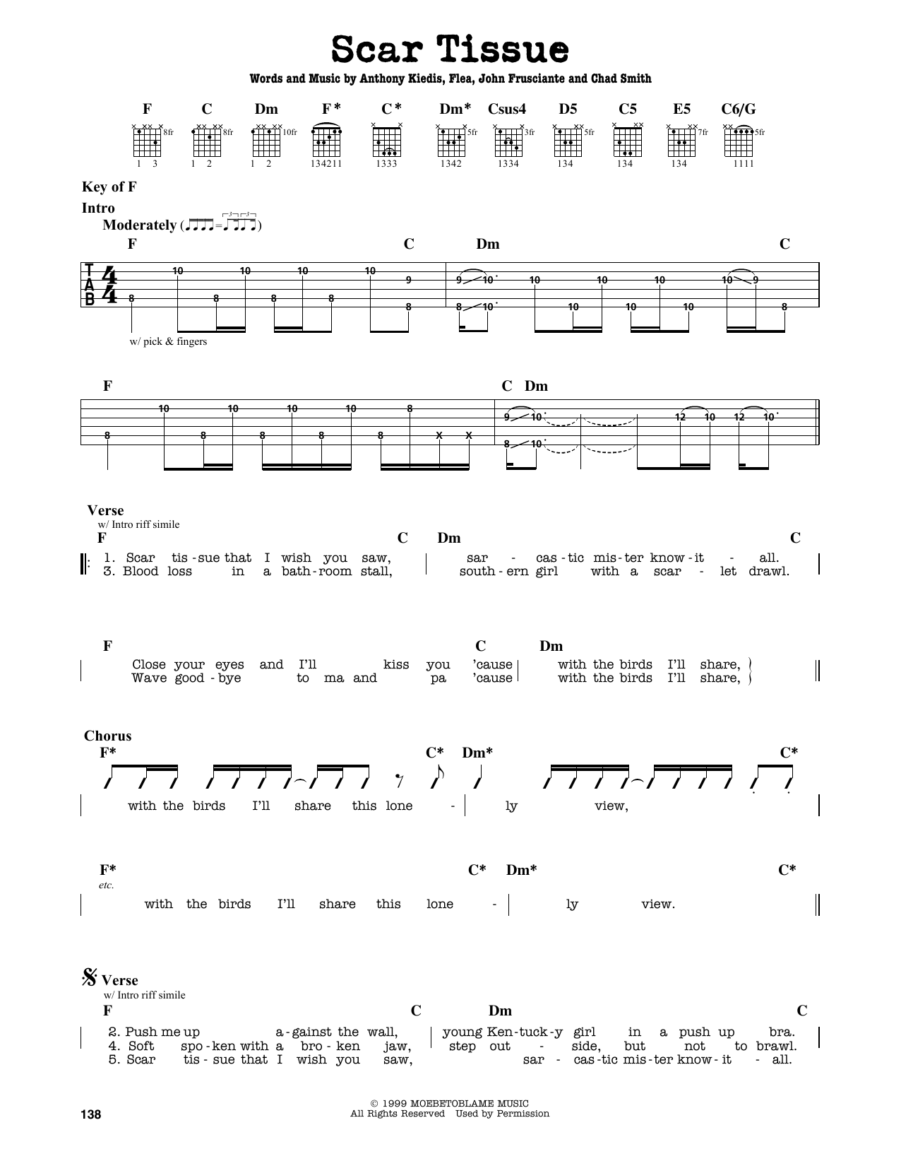 Guitar chords of californication