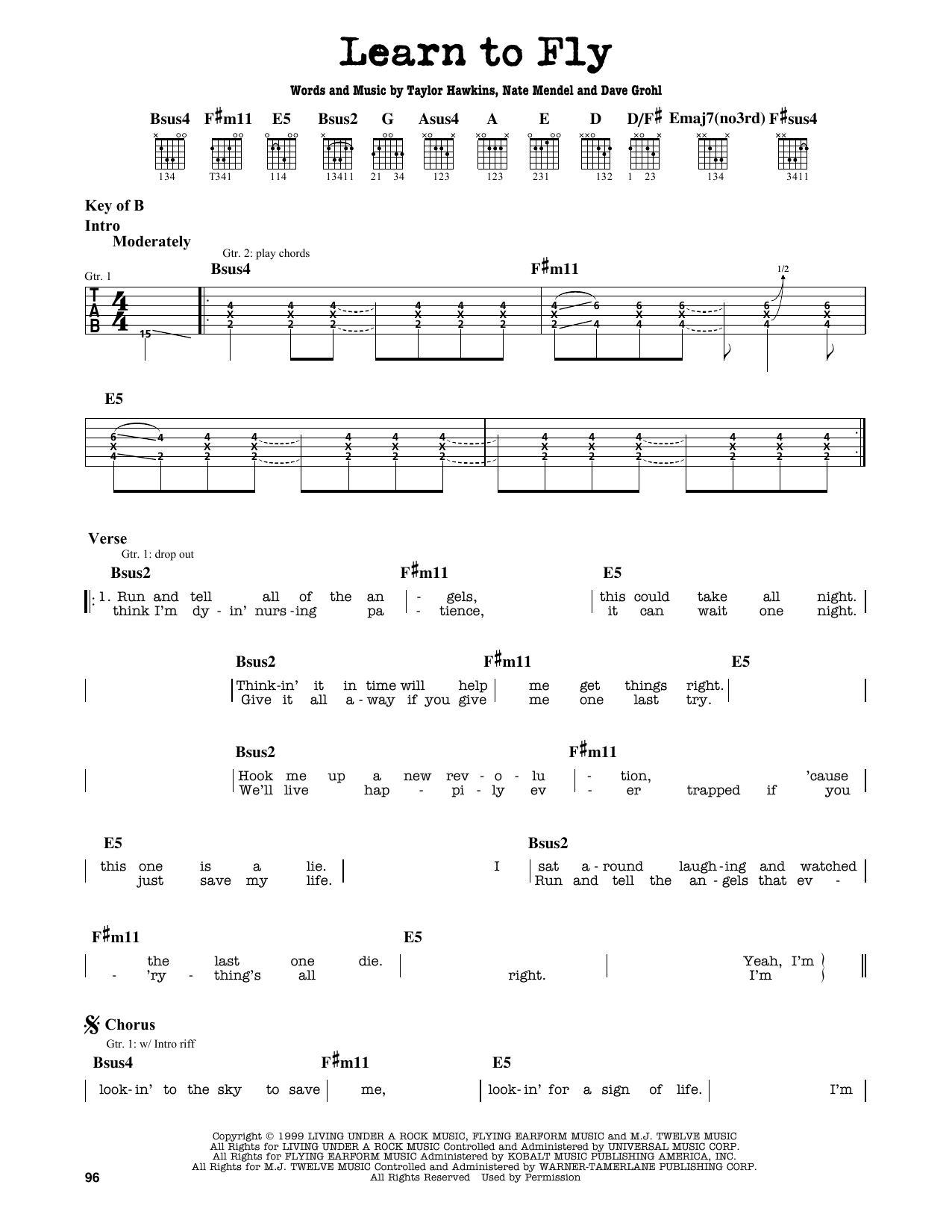 Partition autre Learn To Fly de Foo Fighters - Tablature Guitare Lead