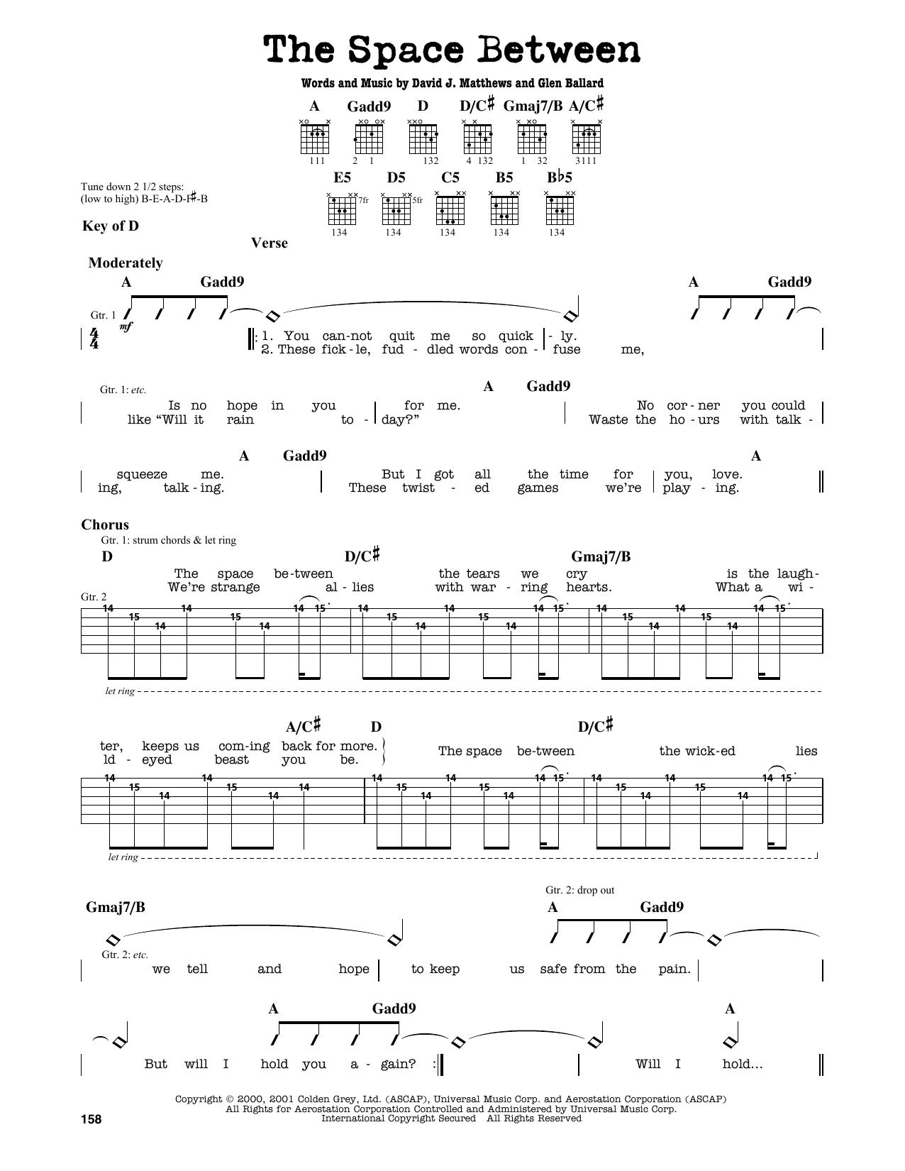 Partition autre The Space Between de Dave Matthews Band - Tablature Guitare Lead