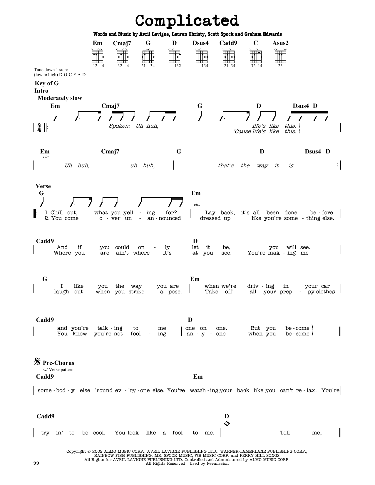 Partition autre Complicated de Avril Lavigne - Tablature Guitare Lead