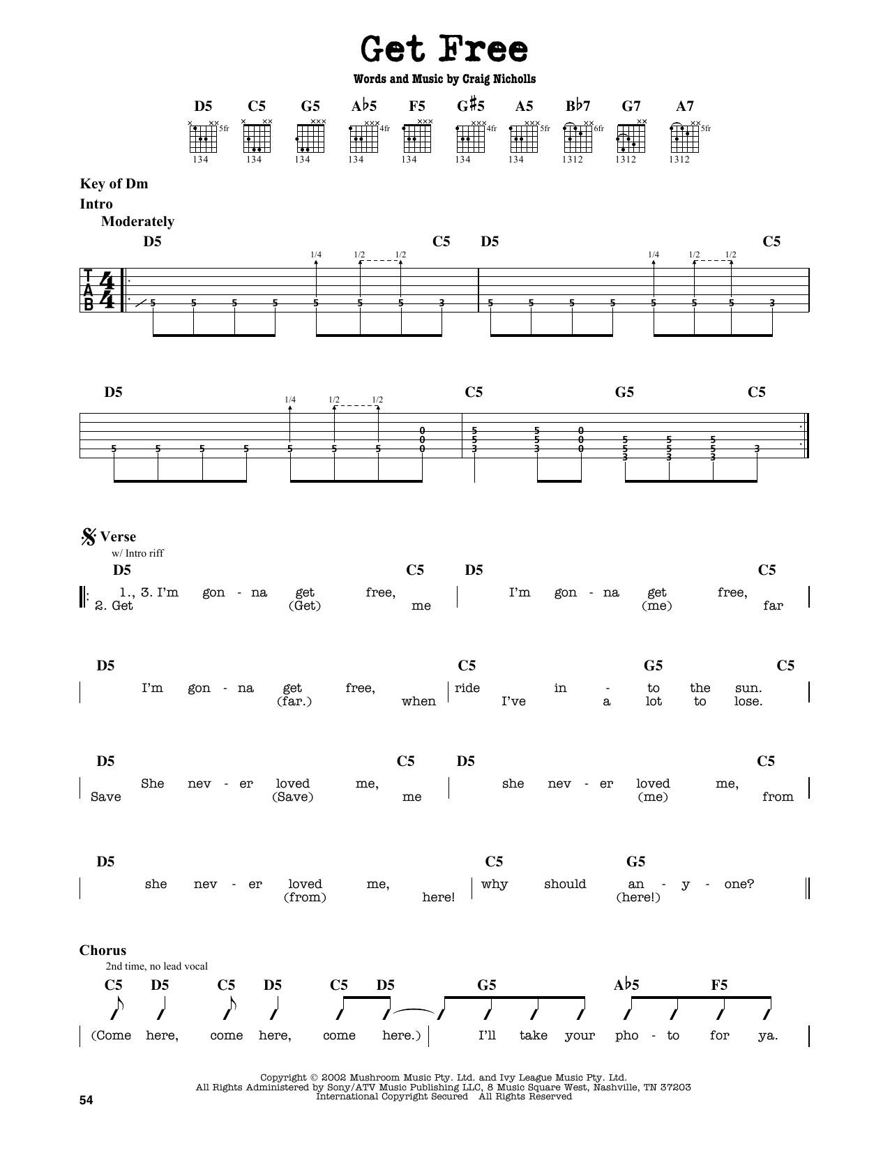 Partition autre Get Free de The Vines - Tablature Guitare Lead