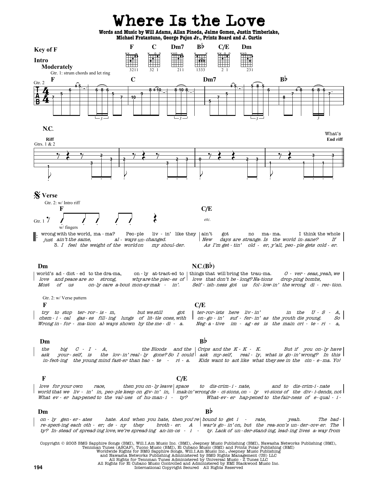 Partition autre Where Is The Love? de The Black Eyed Peas - Tablature Guitare Lead