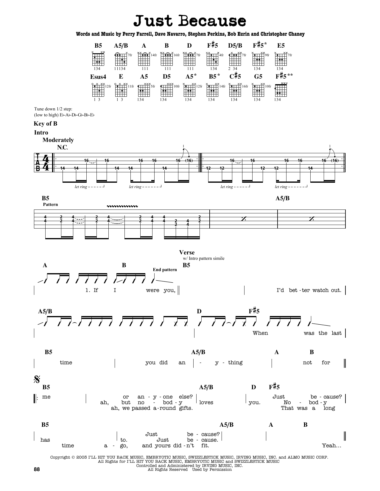 Partition autre Just Because de Jane's Addiction - Tablature Guitare Lead