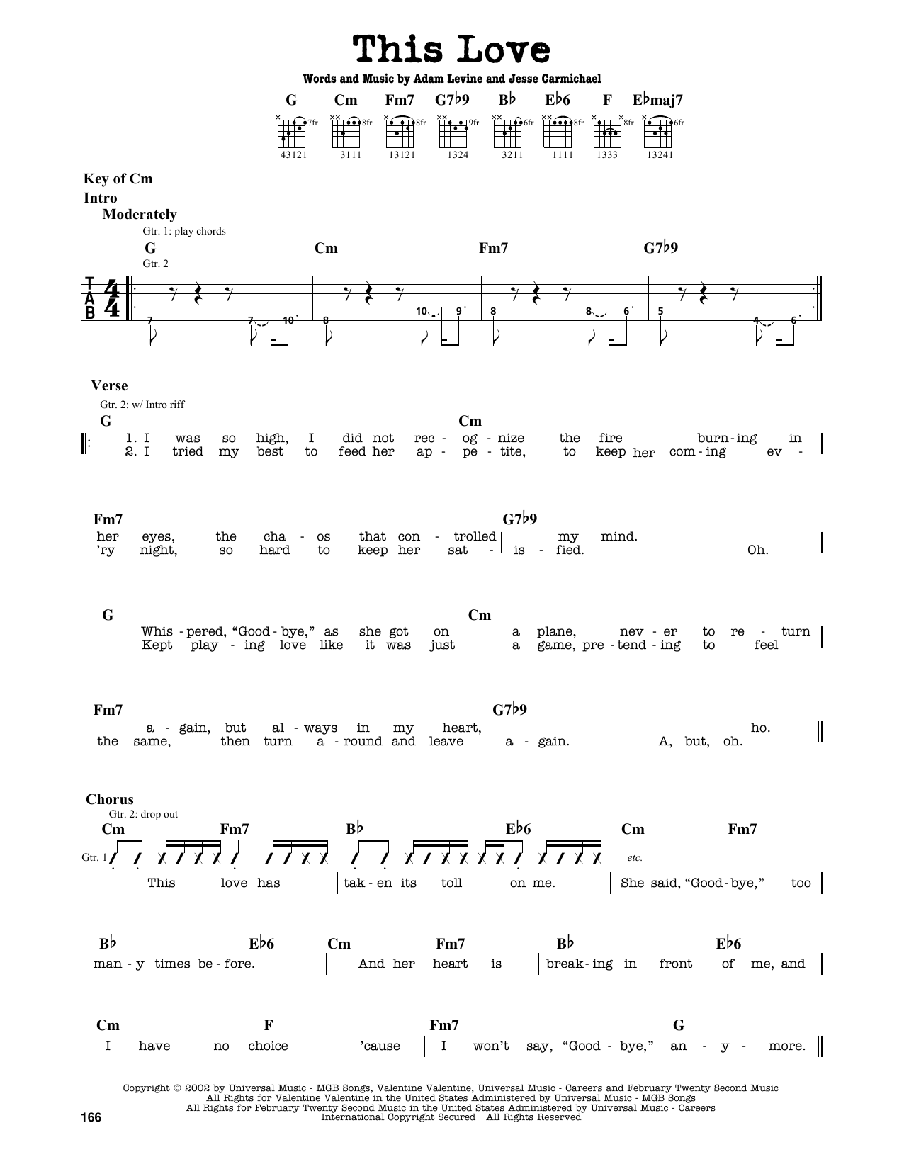 Partition autre This Love de Maroon 5 - Tablature Guitare Lead